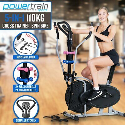 Elliptical Pro Cross Trainer Exercise Bike Dumbbell Home Gym Bicycle Resistance