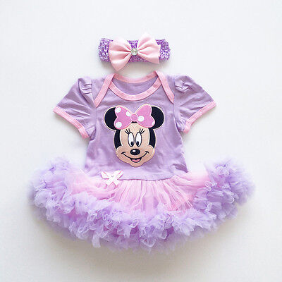 Baby Girls Purple Minnie Mouse Romper Dress + Headband Outfits Size 0000 000 00