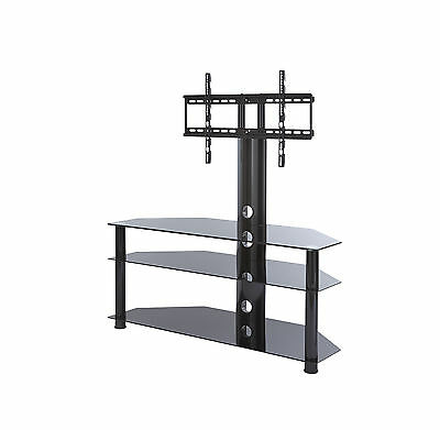 TV Stand with swivel mount bracket for 32 inch to 65 inch LCD LED black glass