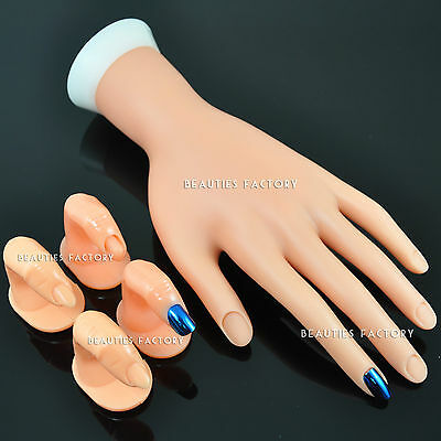 1x Movable Practice Hand & 4x Fingers Nail Art Display Tools 242