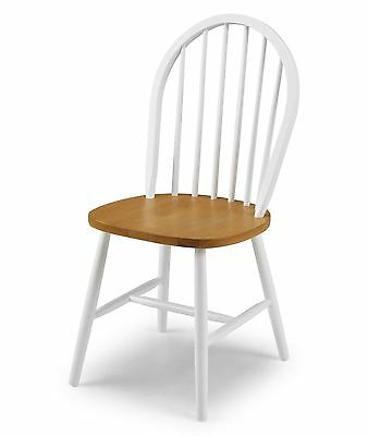 Julian Bowen Oslo 4 x Dining Chair White and Oak Finish Solid Wood