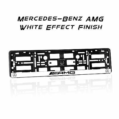 Mercedes Amg White Effect Finish Number Plate Holder Surround Frame Abs M1