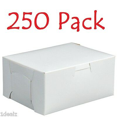 "250 Bakery Cookie Pastry Box 6"" x 4 1/2"" x 2 3/4"" White Made in USA Bundle Pack"