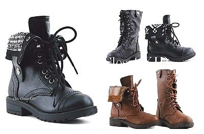 f9917b635e0e LITTLE GIRLS TODDLER Combat Mid Calf Military Ankle Lace Dress Up ...