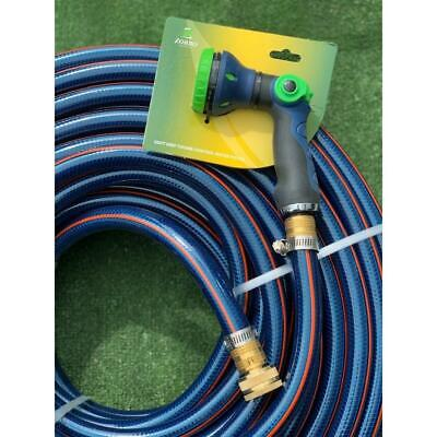"Garden Water Hose 50M Durable Flexible 3/4"" - 18MM Brass Fittings 8.5/10 KINK F"