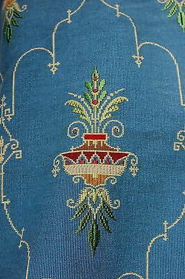"Antique French 19thC Blue Silk &Wool Jacquard Frame Fabric~1yd29""LX19""W~HomeDec"