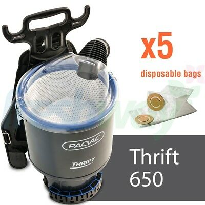 PACVAC Thrift 650TH Commercial Dry Backpack Vacuum Cleaner + 5 Genuine Bags