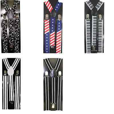 Mens Womens Fashion Clip-on Suspenders Elastic Y-Shape Adjustable Braces NEW