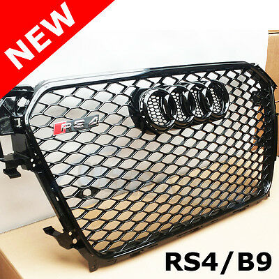 AUDI RS4 GRILLE A4 B8.5 B9 S LINE ALL BLACK 2013 - 2014 honeycomb GLOSS