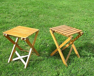 Couple Pair Wooden Folding Chairs Flip up seat Tip-up Jumpseat Campstool Vintage