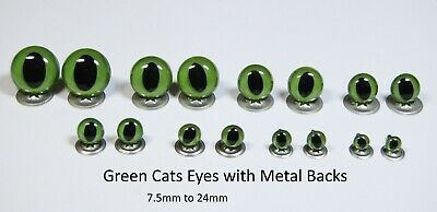 GREEN CATS Crystal Eyes with METAL BACKS -Traditional Teddy Bear Toy Doll Safety