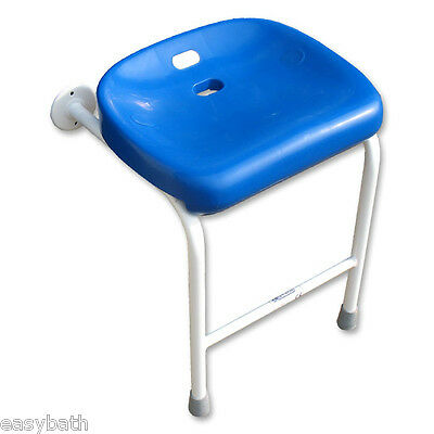 Wall fixed shower seat with leg support for elderly/disabled, Contoured seat
