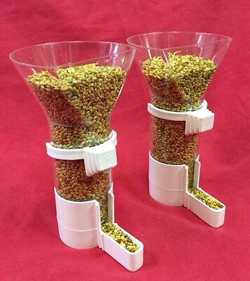 Bird Feeder X 2 Seed Clipper Fountain funnel Budgie Canary Finch Open Top