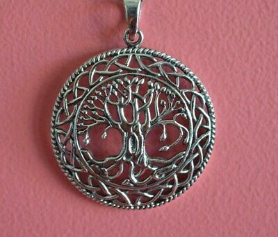 925 Sterling Silver Big Antique Finish Celtic Tree of Life Pendant Necklace NEW
