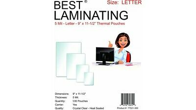 5Mil Clear Letter Size Thermal Laminating Pouches 9 X 11.5 Qty 300 Best Brand