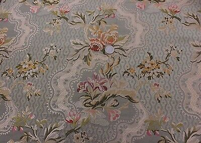 "Antique 19thC Floral French Brocaded Silk~24""LX25""W~HomeDec,Frame,Collectors"