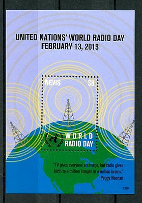 Nevis 2013 MNH UN United Nations World Radio Day 1v S/S Peggy Noonan Stamps