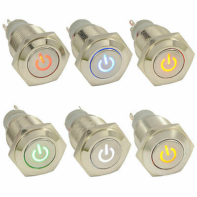Metal Angel Eye Lighted On LED Latching Push Button Switch Car 12V