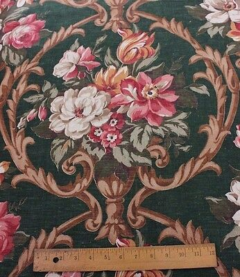 "Genuine Vintage Home Decor Rose Old Linen Fabric c1940~5yds12""L X 48""W"
