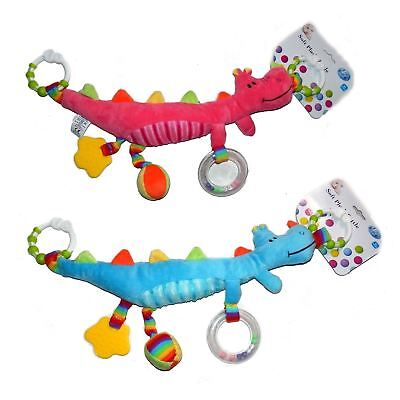 First Steps Soft Plush Dragon Rattle with clips 6m+ Cot Pram Toy