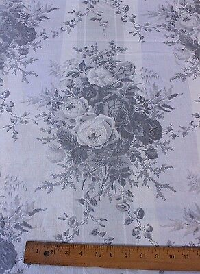 """Antique French Old Cabbage Rose Chintz Curtain Fabric Panel c.1870~3yds2""""LX64""""W"""