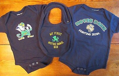 Lot of 2 Size 0- 6 Months Notre Dame Fighting Irish One-Piece Sleepers and Bib