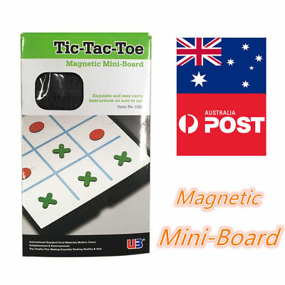 Travel Magnetic Folding Tic Tac Toe Set Board Box Game Checkers Pocket Size