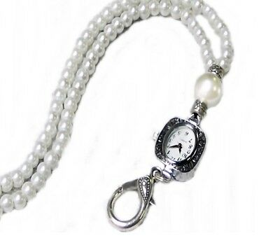 Beaded Necklace Lanyard, neck watch, work id badge holder - White pearl watch