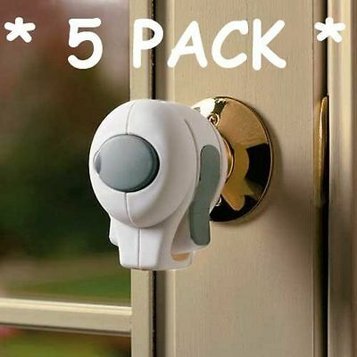 5 Pack Door Knob Lock Children Safety Grip Cover Kids Guard Toddler Child Proof
