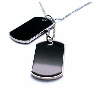 Military Army Tactical Style 2 Black Dog Tag Fashion Necklace Set
