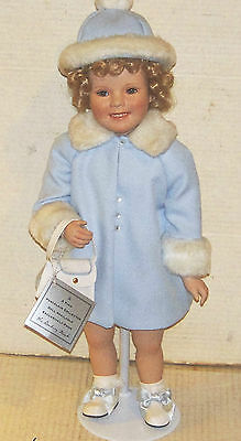 Shirley Temple Danbury Mint Porcelain Doll In Blue Winter Coat Outfit 2002