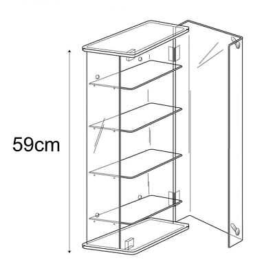Acrylic 59cm Adjustable Display Show Case/Cabinet Wall or Counter Retail/Shop