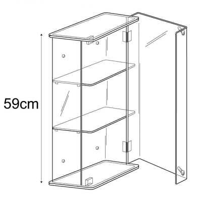 Acrylic 59cm Lockable Display Show Case/Cabinet Wall or Counter Retail/Shop