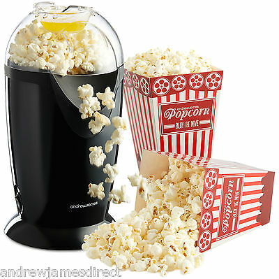 Andrew James Electric Hot Air Healthy Popcorn Popper Maker Machine In Black
