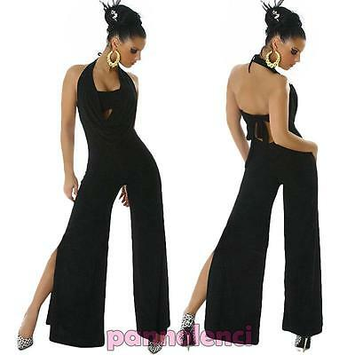 Overall tuta intera donna abito spacco jumpsuit nude look disco gogo LI-9516