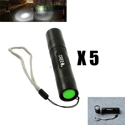 5 x Mini 5-Modes Adjustable CREE XPE Q5 LED 18650 Flashlight Torch