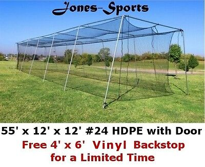 Batting Cage Net 12' x 12' x 55' #24 HDPE (42PLY) with Door Baseball Softball