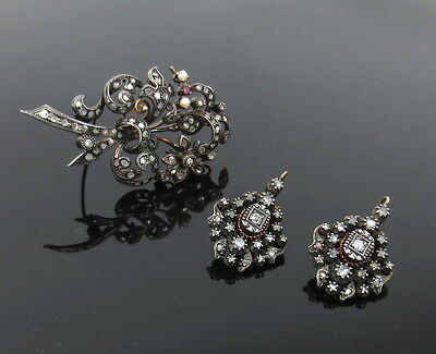 Antique 2.50ct Rose Cut Diamond Pearl & Ruby Silver & Gold Earrings & Pin Set