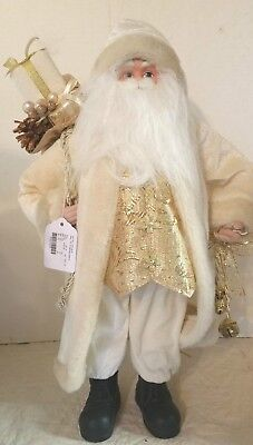 18 inch standing Santa White with Gold Vest Christmas