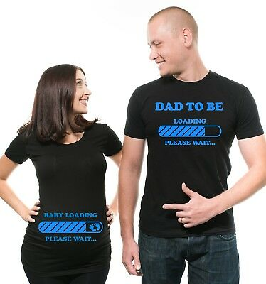 Pregnancy Funny Couple T-shirts Baby Loading Dad To Be Maternity Baby Shower Tee