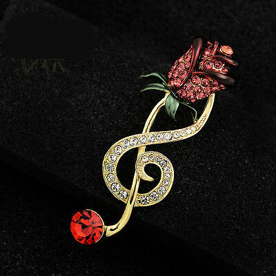Charm Crystal Rose Musical Symbol Safety Pin Suit Sweater Guard Clip Pin Brooch