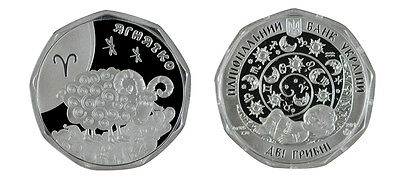 Ukraine 2 Hryven Silver Coin, 2015, Mint, Children's Zodiac Series Aries Ram