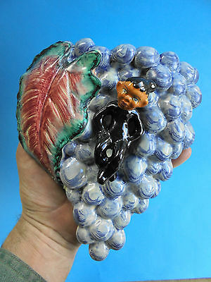 LARGE RETRO PIXIE WALL VASE WITH GRAPES - DULANE ITALY c1960