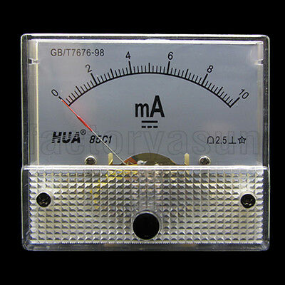 DC 10mA Analog Panel AMP Current Meter Ammeter Gauge 85C1 0-10mA DC White