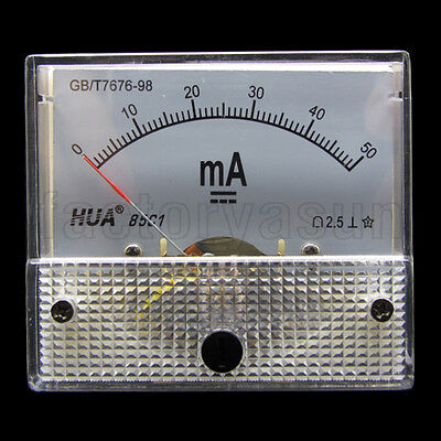 DC 50mA Analog Panel AMP Current Meter Ammeter Gauge 85C1 0-50mA DC White