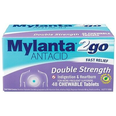GENUINE Mylanta2go Double Strength Chewable 48 Tablets