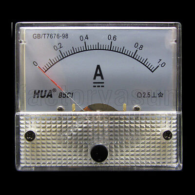 DC 1A Analog Panel AMP Current Meter Ammeter Gauge 85C1 0-1A DC White
