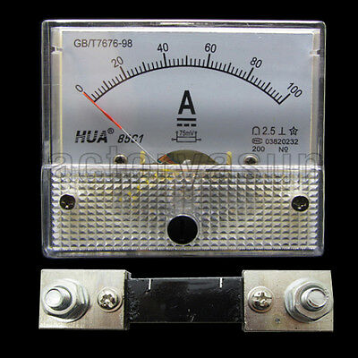 DC 100A Analog Panel AMP Current Meter Ammeter Gauge 85C1 0-100ADC White + Shunt