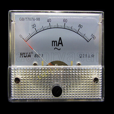 AC 100mA Analog Panel AMP Current Meter Ammeter Gauge 85L1 0-100mA AC White