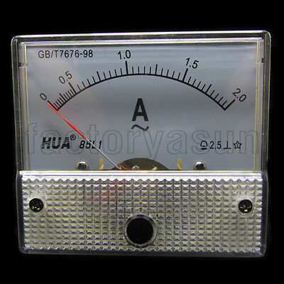 AC 2A Analog Panel AMP Current Meter Ammeter Gauge 85L1 0-2A AC White
